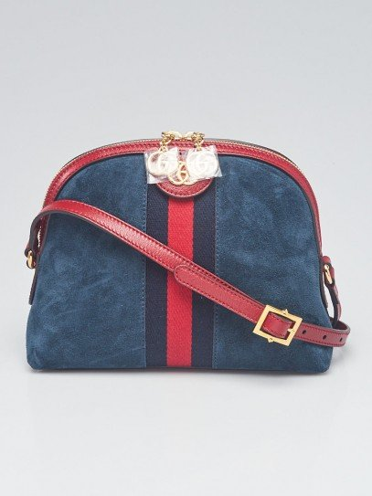 Gucci Blue Suede and Leather Vintage Web Ophidia Small Shoulder Bag