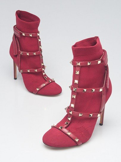 Valentino Burgundy Knit Fabric Rockstud Ankle Boots Size 7.5/38