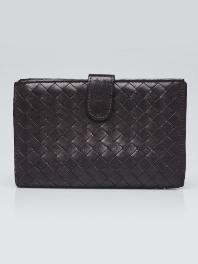 Bottega Veneta Brown Intrecciato Woven Nappa Leather French Flap Wallet