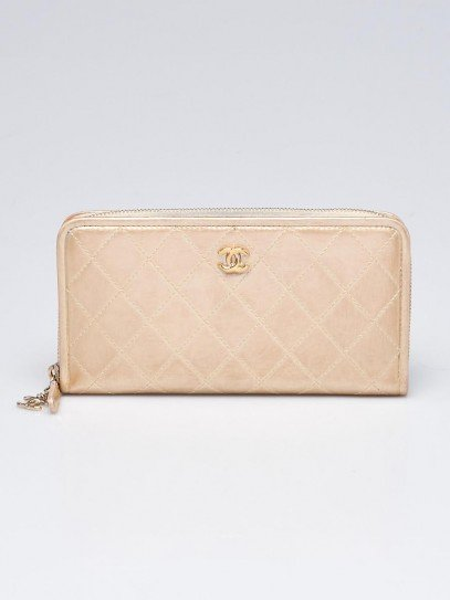 Chanel Gold Quilted Leather L Gusset Zip Wallet