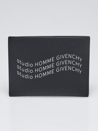 Givenchy Black Smooth Leather Studio Homme Givenchy Card Case Wallet