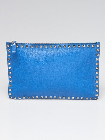 Valentino Blue Pebbled Leather Rockstud Small Clutch Bag