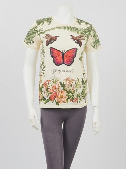 Gucci Pale Yellow/Green Butterfly Embroidered T-Shirt Size S