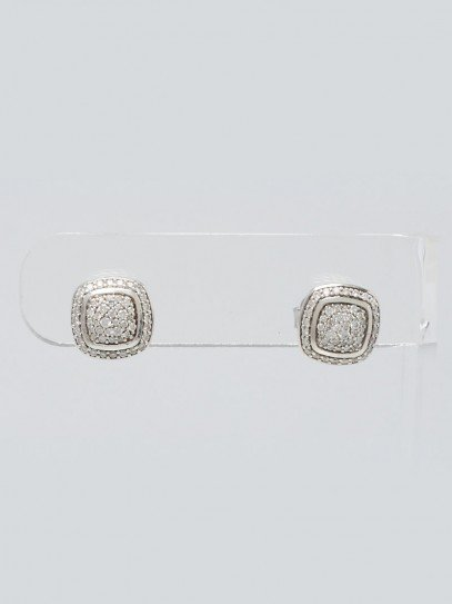 David Yurman 11mm Sterling Silver and Pave Diamond Albion Earrings