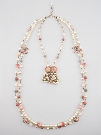 Chanel Pink/White Faux Pearl Owl Necklace