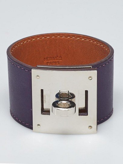 Hermes Anemone Swift Leather Palladium Plated Kelly Dog Bracelet