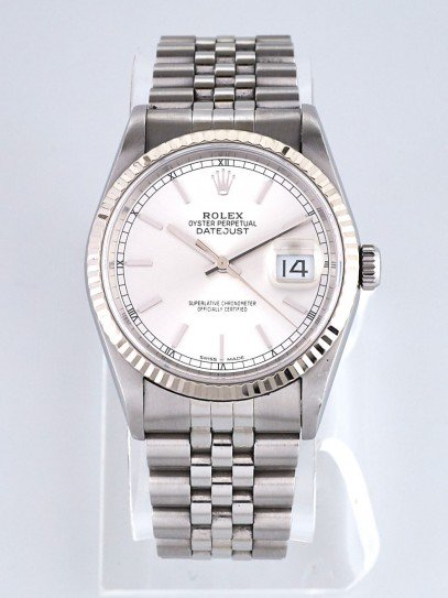 Rolex 36mm Stainless Steel and 18k White Gold Oyster Perpetual Datejust Watch 16234