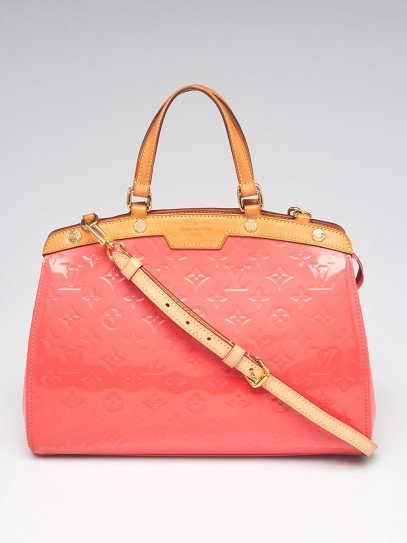 Louis Vuitton Rose Litchi Monogram Vernis Brea MM Bag