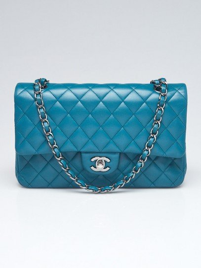 Chanel Turquoise Quilted Lambskin Leather Classic Medium Double Flap Bag