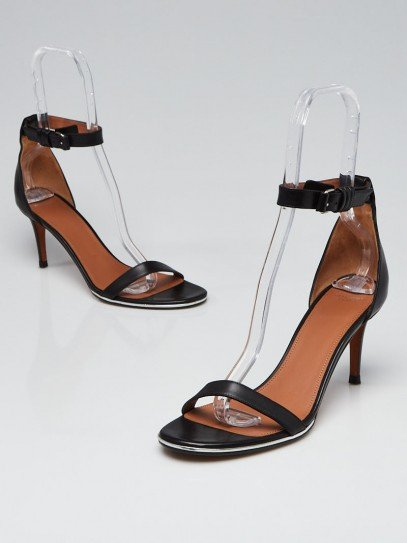 Givenchy Black Leather Ankle Strap Heels Size 9.5/40