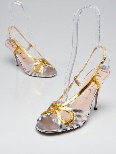 Gucci Silver/Gold Leather Zephyra Peep-Toe Sandals Size 8.5/39