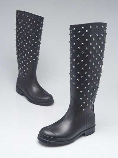 Yves Saint Laurent Black Rubber and Crystal Embellished Festival Rain Boots Size 5.5/36