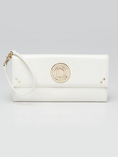 Christian Dior White Patent Flap Top CD Clutch Bag