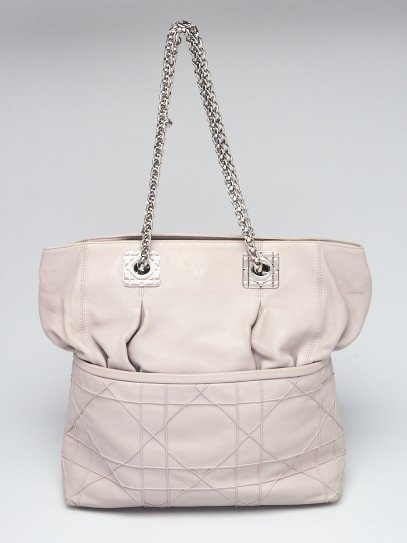 Christian Dior Pale Grey Cannage Quilted Lambskin Leather So Dior Tote Bag