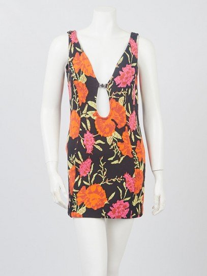 Balenciaga Black Multicolor Floral Knit Sleeveless Tunic Size 6/40