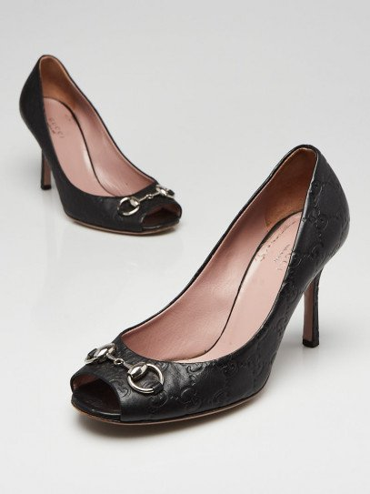 Gucci Black Guccissima Leather Horsebit Peep Toe Pumps Size 7/37.5