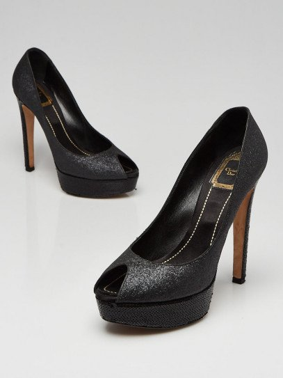 Christian Dior Grey Glitter/Sequin Leather Peep Toe Miss Dior Pumps Size 8.5/39