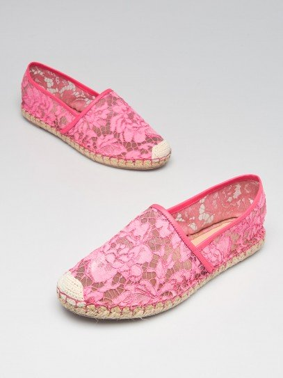 Valentino Pink Lace Espadrille Flats Size 8.5/39