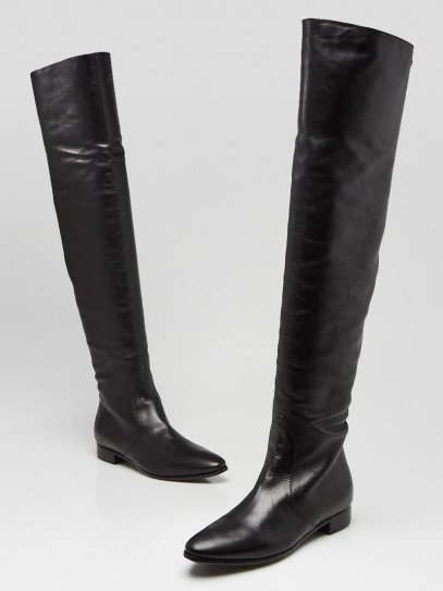 Prada Black Leather Over-The-Knee Boots Size 5.5/36