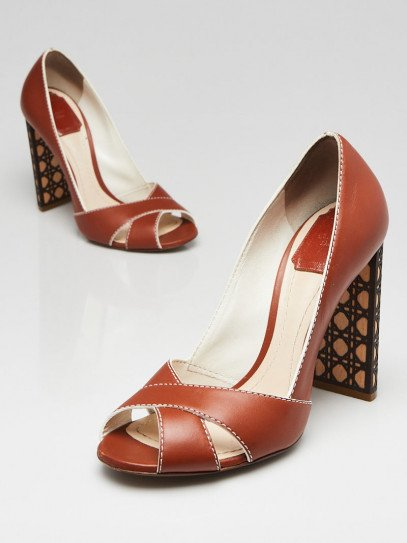 Christian Dior Brown Leather Open Toe Pumps Size 7.5/38