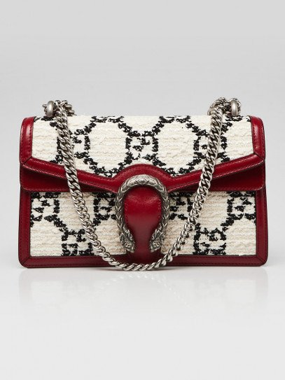 Gucci Red/White/Black GG Tweed Small Dionysus Bag