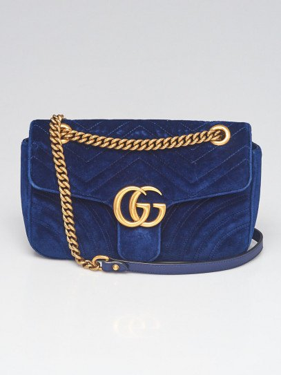 Gucci Blue Quilted Velvet GG Marmont Small Metelasse Shoulder Bag