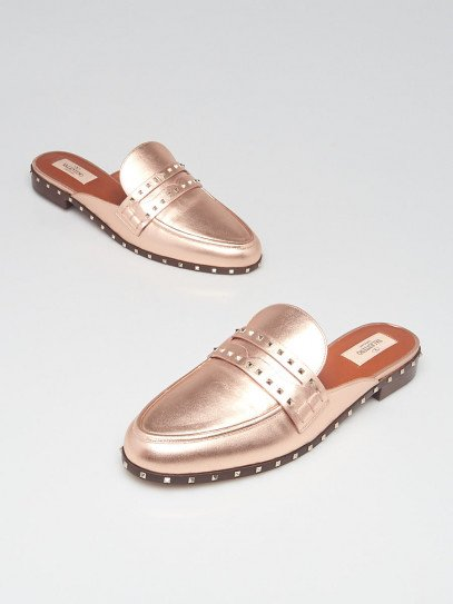 Valentino Rose Gold Leather Soul Rockstud Mules Size 10/40.5