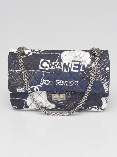 Chanel  Black/Blue 2.55 Reissue Printed Quilted Jersey Classic 225 Flap Bag