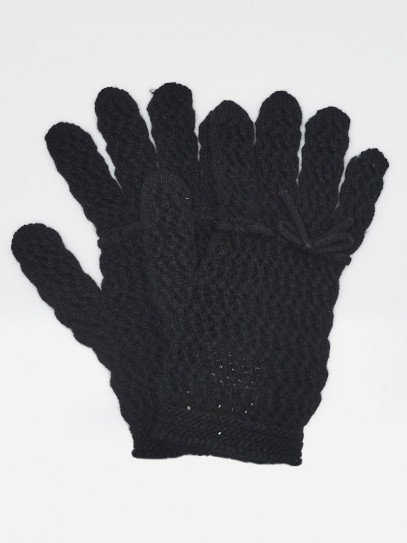Gucci Black Crocheted Wool Ribbon Gloves Size L