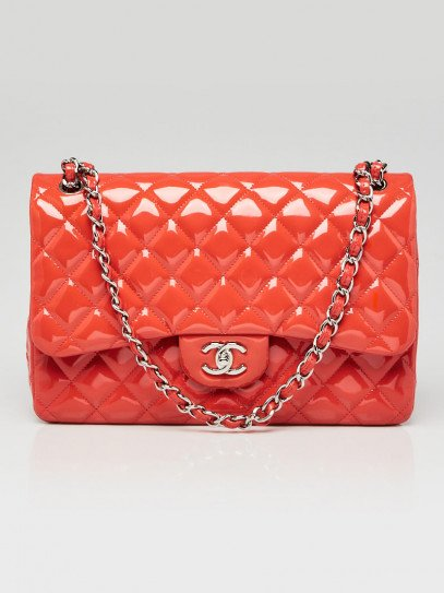 Chanel Pink Quilted Patent Leather Classic Jumbo Double Flap Bag