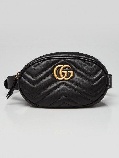Gucci Black Quilted Leather GG Marmont Waist Belt Bag Size 85/34