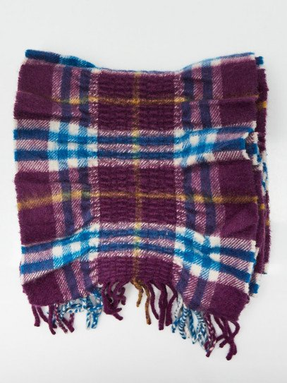 Burberry Purple Cashmere Classic Check Pleated Fringe Scarf