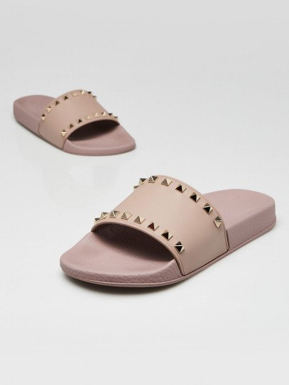 Valentino Poudre Rubber Rockstud Spiked Slides Size 8.5/39