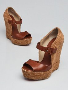 Christian Louboutin Brown Leather and Rope Praia 140 Espadrille Wedges Size 4.5/35
