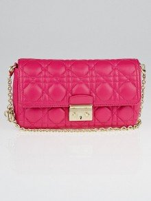 Christian Dior Fuchsia Cannage Quilted Lambskin Leather Miss Dior Small Flap Bag