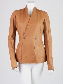 Rick Owens Brown Lambskin Collarless Leather Jacket Size 0
