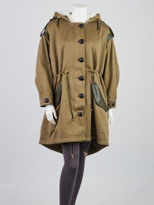 Burberry London Olive Cotton and Shearling Fur Trim Parka Jacket Size 0/34