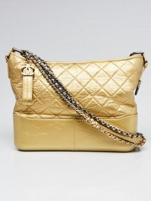 Chanel Gold Quilted Leather Medium Gabrielle Hobo Bag