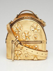 Fendi Gold Leather Flowerland Backpack Style Crossbody Bag 8BT281