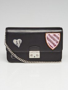 Christian Dior Black Lambskin Leather Miss Dior Large Promenade Heart Badge Wallet on Chain Bag