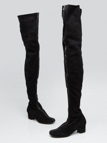 Chanel Black Suede Front Zip Over the Knee Boots Size 5/35.5