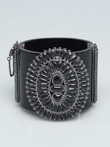 Chanel Black Resin and Resin Bead Wide Cuff Bracelet