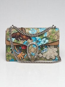 Gucci Beige/Ebony GG Floral Coated Canvas Embroidered Small Dionysus Shoulder Bag