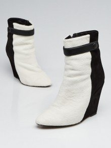 Isabel Marant Black/White Suede And Pony Hair Sade Wedge Boots Size 6.5/37