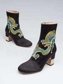 Gucci Black Satin Candy Embroidered Dragon Ankle Boots Size 4.5/35