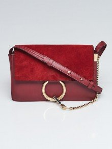 Chloe Dark Red Leather and Suede Small Faye Bag