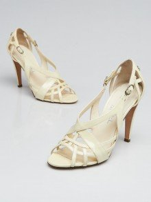 Chanel White Patent Leather Strappy Sandals Size 6.5/37