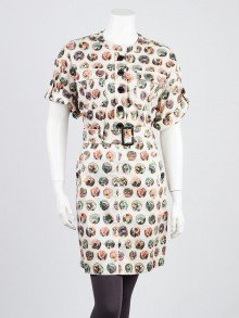 Burberry Multicolor Cotton Printed Trench Dress Size 4