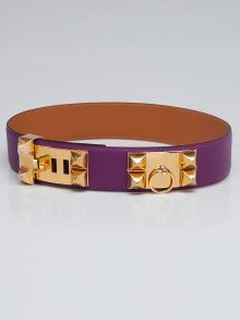 Hermes Anemone Epsom Leather Gold Plated Collier de Chien Belt Size 75