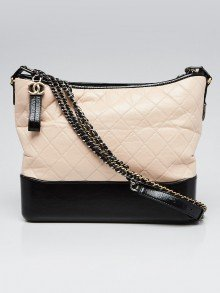Chanel Beige/Black Quilted Leather Large Gabrielle Hobo Bag